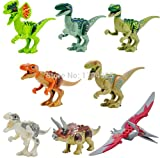 NW Jurassic World Dinosaur Figures Jurassic Park 4 Minifigures Bricks Models & Building Toys for Children 8pcs/Set Lego Compatible(Without Original Box)
