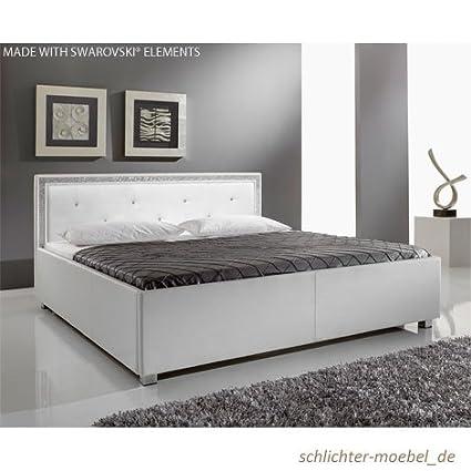"Polsterbett ""MyLife"" SWAROVSKI® ELEMENTS (Weiß, 160 x 200 cm)"