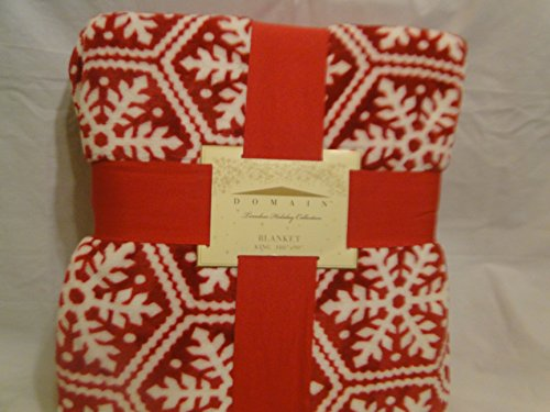 "Holiday Snowflakes on Dark Red 108"" X 90"" Plush King Blanket - 1"