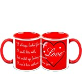 Valentine Day Gifts HomeSoGood Spread Love On Valentine's Day White Ceramic Coffee Mug - 325 Ml (Set Of 2)