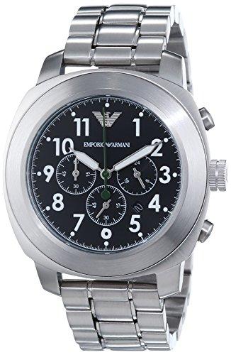 Emporio Armani DELTA AR6056 - Reloj para hombres, correa de acero inoxidable color plateado