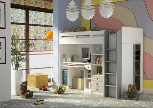 Kombination aus Bett Schrank und Schreibtisch 27XD1T03 Combi Kinderzimmer weiß online bestellen