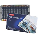 Derwent Watercolor Pencils, 3.4mm Core, Metal Tin, 36 Count (32885)