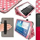 igadgitz Pink mit Weißen Polka Punkte PU Ledertasche Hülle Folie Cover für Samsung Galaxy Tab 3 8.0