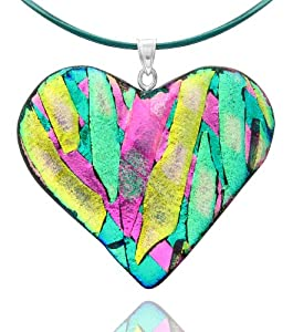 """Sterling Silver Dichroic Glass Green, Pink and Yellow Heart-Shaped Pendant Necklace on Stainless Steel Wire, 18"""""""