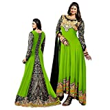 Cozer Cration Zari Work Green Long Anarkali Dress Material