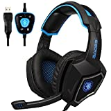 2016 New SADES Spirit Wolf 7.1 Surround Sound Stereo USB Gaming Headset Headband Headphones with Mic Over-the-Ear Noise Isolating Volume Control LED Light For PC Gamers (Black Blue)