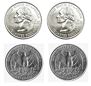 Pair of Real Double Sided Quarters 1 Two Headed and 1 Two Tailed Coin - 1 x Double Headed Quarter + 1 x Double Tailed Quarter