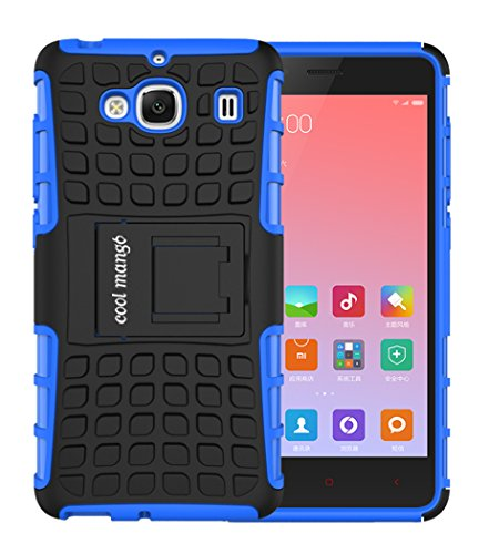 Xiaomi Redmi 2 Protective Case / Back Cover : Cool Mango Premium Dual Layer Armor Protection Case Cover with Kickstand for Xiaomi Redmi 2 / Redmi 2s - Blue