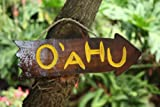 """Here is a hand made vintage looking sign """"OAHU"""" hand carved and hand painted on a driftwood. This great piece of handicraft measures 12 inches long by 4 inches wide (30cm X 12cm). This wooden sign will add a nice tropical accent to your cock..."""