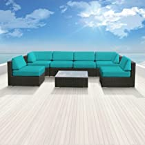 Hot Sale Genuine Luxxella Outdoor Patio Wicker Sofa Sectional Furniture BELLA 7pc Gorgeous Couch Set TURQUOISE