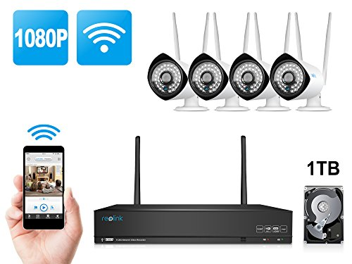 Home Business Wireless Video Security Camera System, with 4 PCS of 1080P HD Waterproof Outdoor Indoor WiFi Bullet IP Cameras and 1 PC of 4-Chanel Wireless NVR Kit with 1 TB HDD, Reolink RLK4-210WB4