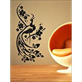 Wall1ders Peacock With Flowers Wall Sticker Decal Design PVC Vinyl With 1 Acrylic Black Mooch[10.16 Cm(width)...