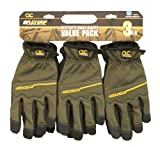 Custom Leathercraft P3214L Workright Flex Grip Work Gloves, Large, 3-Pair