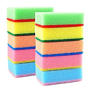 Sponge Scouring Pads - Pack of 10 - Fun Assorted Colors - Long Lasting Kitchen Sponge Scrubber - Dishwashing Sponges