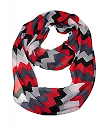 WishCart? Women's Infinity Scarf Loop Ring Light Weight Zig Zag Chevron Sheer Print,Size Bigger Then Others,Multi Color With 30 Different Colors-Black Red