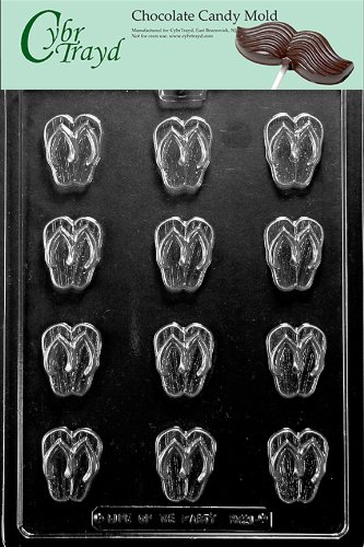 Cybrtrayd M221 Bite Size Flip-Flops Chocolate Candy Mold with Exclusive Cybrtrayd Copyrighted Chocolate Molding Instructions