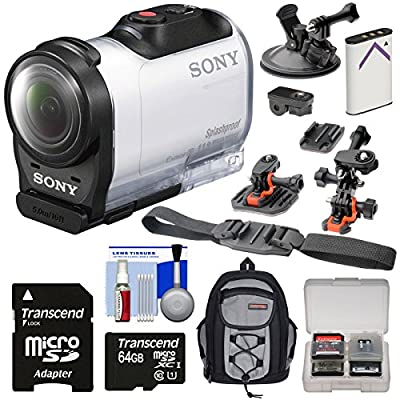 Sony Action Cam HDR-AZ1 Mini HD Video Camera Camcorder with 64GB Card + Battery + 2 Helmet, Flat Surface & Suction Cup Mounts + Backpack + Kit