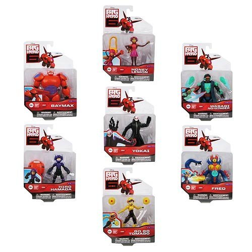 Big Hero 6 Action Figure Set - 7 Characters - Baymax, Yokai, Go Go Tomago, Honey Lemon, Wasabi No-Ginger, Fred, and Hiro Hamada!