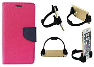 Novo Style Book Style Folio Wallet Case Samsung Galaxy On7 Pink + Ok Stand For Smartphones And Tablets
