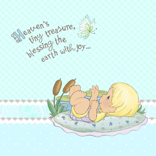 Precious Moments Baby Shower Napkins - Baby Boy Baby Shower Lunch Napkins - 16 Count