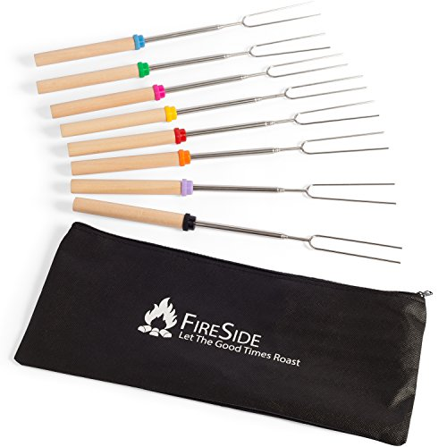 Fireside Marshmallow Roasting Sticks, 32 Inch Extendable Forks For Perfect Smores & Hot Dogs At The Campfire (8 Pack) (Fire Roasting compare prices)
