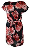 Ex Dorothy Perkins Ladies Black & Red Bold Floral Print Tunic Shirt Dress Kaftan Beach Cover Up (XL)
