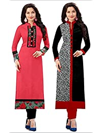 Fancy New Designed Combo Kurties Collection Low Price Printed Pink Kurti For Girl Crepe Cotton Low Price Amazon...
