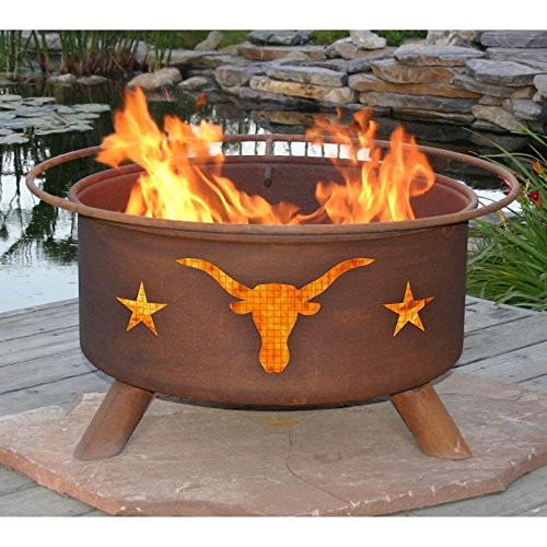 Patina-Texas-Longhorns-30-in-Fire-Pit-Set-with-Grill-and-FREE-Cover