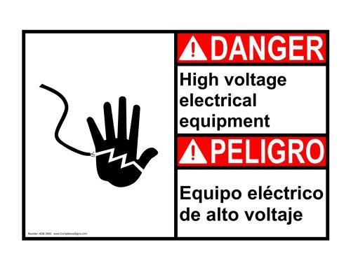 Compliancesigns Aluminum Ansi Danger Sign, 20 X 14 In. With Electrical High Voltage Info In English + Spanish, White