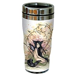 Tree-Free Greetings sg23560 Fantasy Little Wolf Sister Fairy by Amy Brown Sip N Go Stainless Steel Travel Tumbler 16-Ounce Multicolored