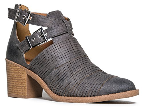 Western Slip On Cowboy Distressed Bootie - Womens Strappy Ankle Pull Wood Heel Boot, Grey Oil Finish, 6 B (M) US