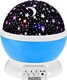 Star and Moon Starlight Projector Night Light Bedside Lamp, ZHOPPY USB / Battery Powered Romantic Rotating Cosmos Star Light Sky Moon Projector Lamp, Rotation Night Projection Child Kid Bedroom (Blue)