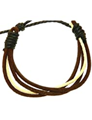 Dark Brown Leather Strap Surf Wristband Bracelet With Cream & Black Coloured Cord - 65