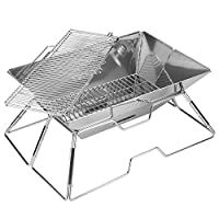 Quick Grill Large: Original Folding Charcoal BBQ Grill Made from Stainless Steel by Fox Outfitters
