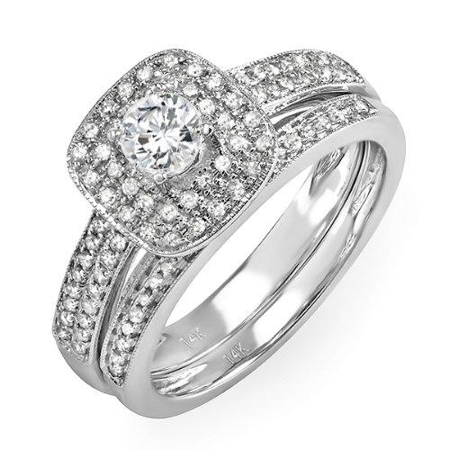 0.85 Carat (ctw) 14k White Gold Round Diamond Ladies Bridal Ring Engagement Set Matching Band