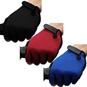 Jazooli Padded Fingerless Bicycle Mountain Road Bike Cycling Half Finger Gloves - Blue
