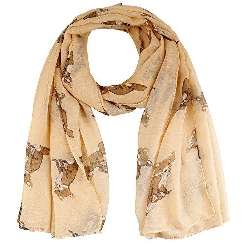 LERDU-Womens-Soft-Fox-Pattern-Scarves-Long-Wide-Polyester-Pashmina-Shawls-Yellow