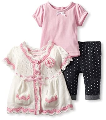 Little Lass Baby-Girls Infant 3 Piece Sweater Set with Dot Legging, White, 3-6 Months