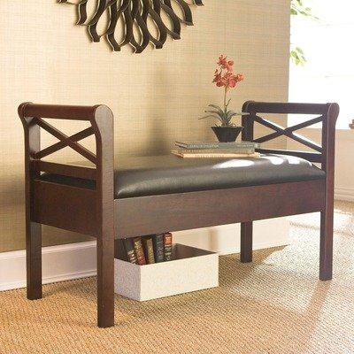 Southern Enterprises BC9221 Faux Leather Storage Bench, Espresso/Black