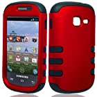 Bundle Accessory for Straight Talk Net 10 Samsung Galaxy Centura S738C - Hybrid Duo Shield Tough Armor Rib Case with SureGrip Skin + Screen Protector + MyDroid Magnet (Red)