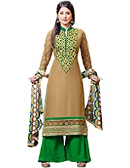 Exotic India Dijon And Green Parallel Salwar Suit With Zari Embroidered - Beige