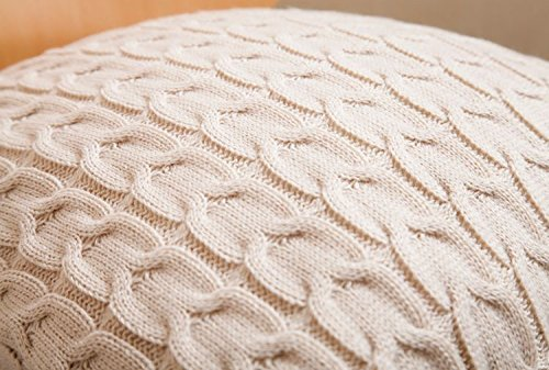 Oblong Cushion Knitting Pattern : CottonTex Cotton Knitted Decorative Cushion Cover Double-Cable Knitting Patte...