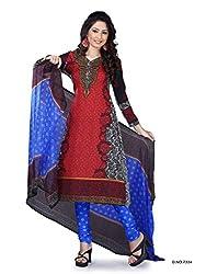 Red Crepe Dress Material - VD14130