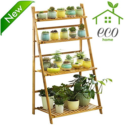 Bamboo 4-tier Plant Stand Planter Shelves Flower Pot Organizer Rack folding Display Shelving Plants Shelf Unit Holder