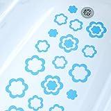 NEW Blue Flower Bathtub Bath Tub Treads Non Slip Applique Sticker Bathroom Mat