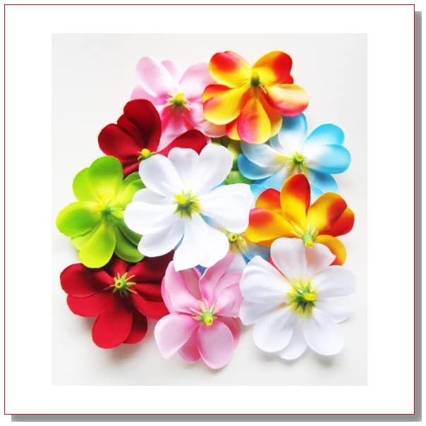 (24) Assorted Hawaiian Plumeria Frangipani Silk Flower Heads - 3