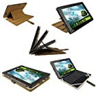 iGadgitz Brown 'Guardian' Genuine Leather Case Cover for Asus Eee Pad Transformer & Keyboard Dock TF300 TF300T 10.1 Android Tablet