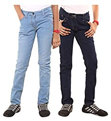 Menthol Girls Light and Dark Denim Pants Combo (Pack of 2) (13-14 Years)