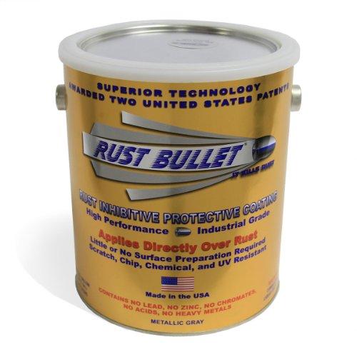 Rust Bullet RB14 Standard Industrial Strength Rust Inhibitor Paint, 1 Gallon Metal Can, Metallic Gray